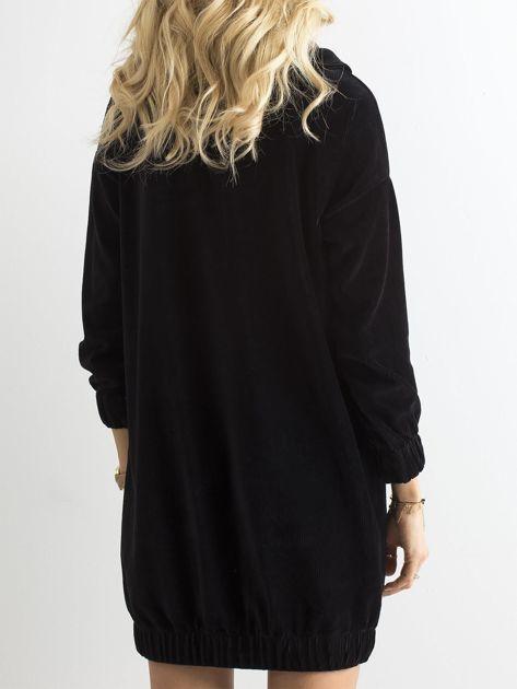 Czarna sztruksowa sukienka                              zdj.                              5