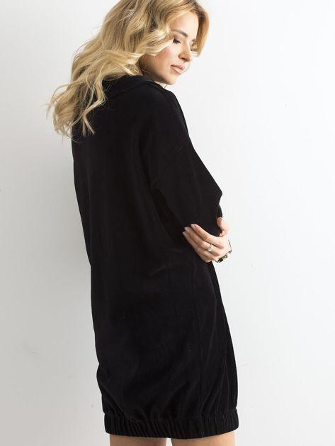 Czarna sztruksowa sukienka                              zdj.                              2