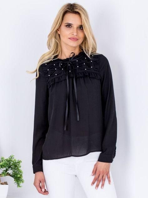 Czarna szyfonowa bluzka z wiązaniem i perełkami                                  zdj.                                  1
