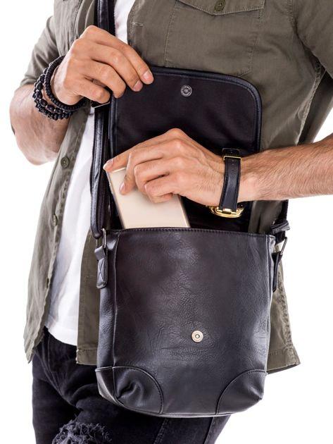 Czarna torba męska na ramię                              zdj.                              3