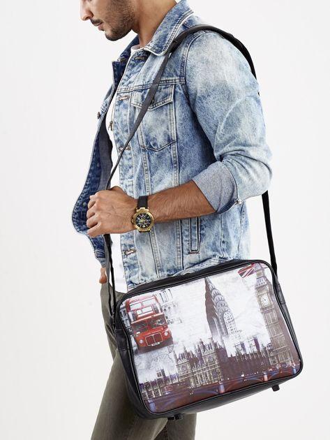Czarna torba męska na ramię z motywem Londynu                              zdj.                              5