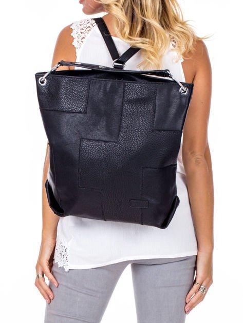 Czarna torba-plecak z odpinanymi szelkami                              zdj.                              1
