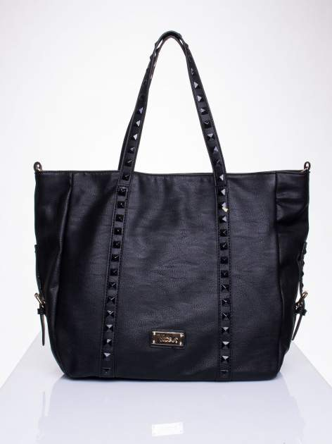 Czarna torba shopper bag z kolorowymi ćwiekami                                  zdj.                                  1