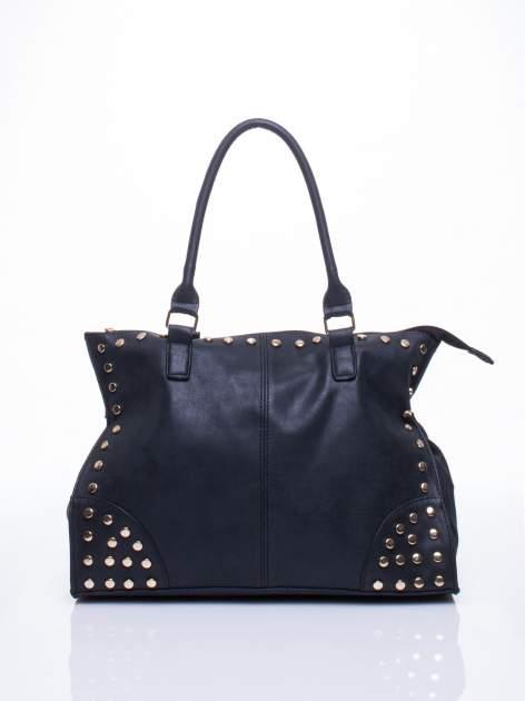 Czarna torba shopper bag ze złotymi ćwiekami                                  zdj.                                  1