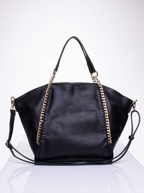 Czarna torba shopper bag ze złotymi łańcuchami                                  zdj.                                  1
