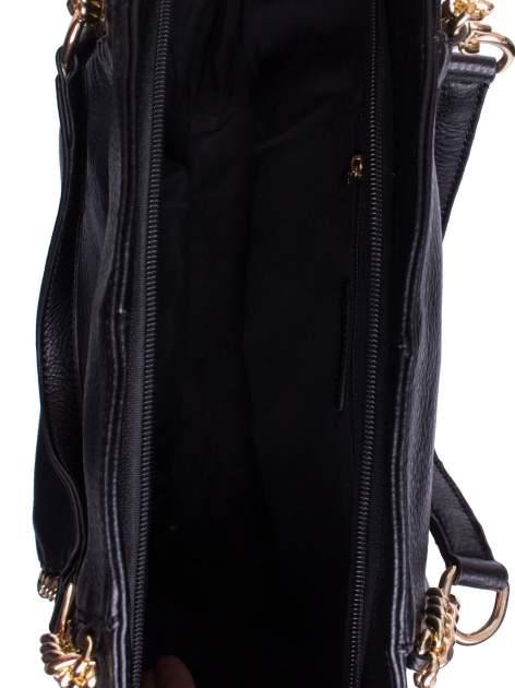 Czarna torba shopper bag ze złotymi łańcuchami                                  zdj.                                  4