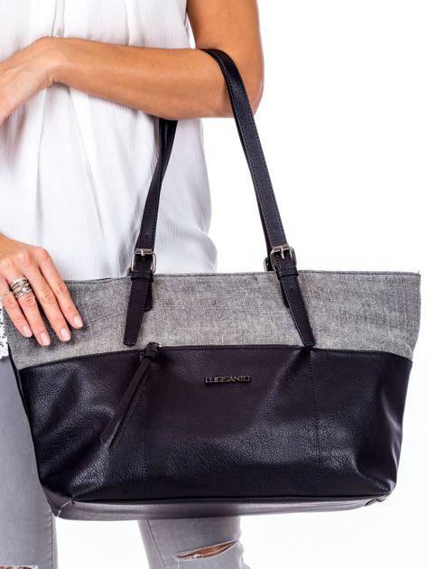 Czarna torba shopper z materiałową wstawką                              zdj.                              2