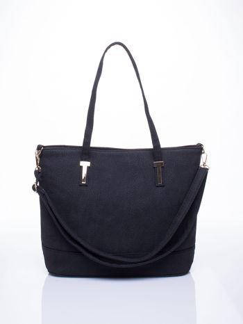 Czarna torba shopperka z odczepianym paskiem                                   zdj.                                  1
