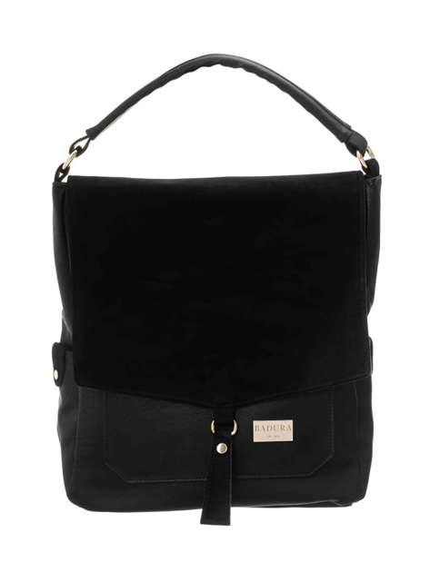 Czarna torba z ekoskóry BADURA