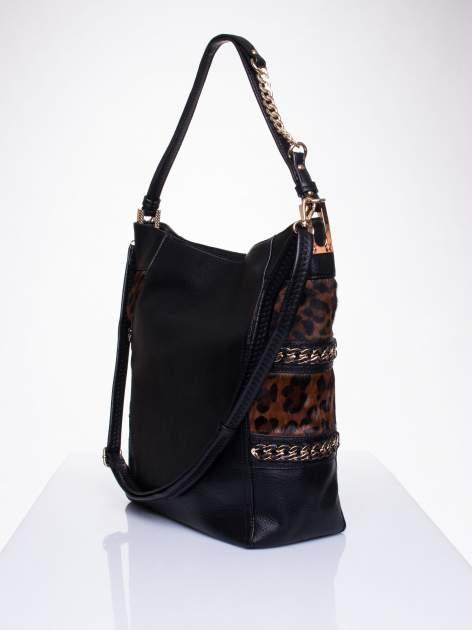 Czarna torba z motywem panterkowym i odpinanym paskiem                                  zdj.                                  3