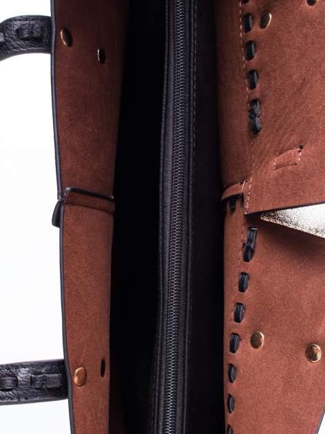 Czarna torba z przeplatanym paskiem                                  zdj.                                  4