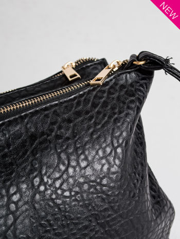 Czarna torebka dwukomorowa z paskiem                                  zdj.                                  2