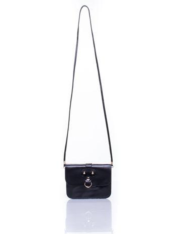 Czarna torebka listonoszka z klapką                                  zdj.                                  5
