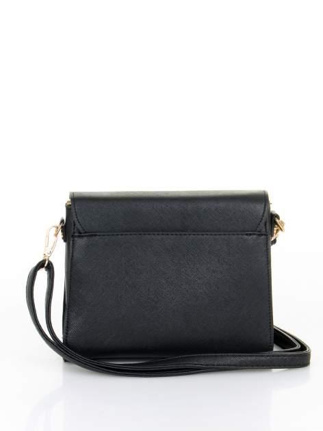 Czarna torebka listonoszka z klapką ze skóry saffiano                                  zdj.                                  4