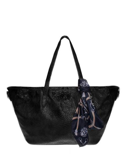 Czarna torebka shopper bag z apaszką                                  zdj.                                  1