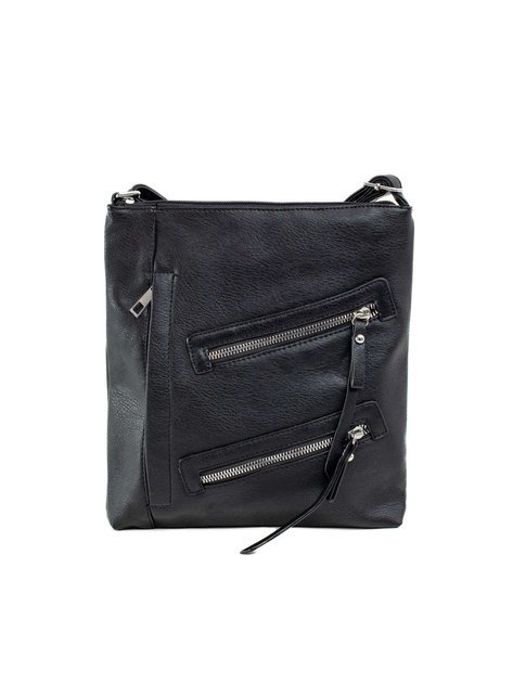 Czarna torebka z ekoskóry z kieszeniami