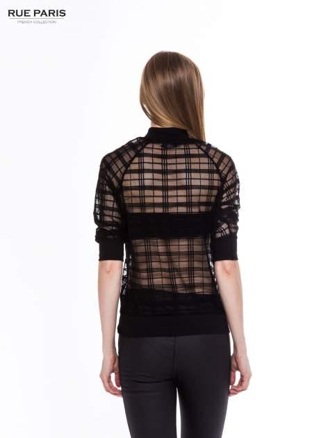Czarna transparentna bluza w kratę z półgolfem                                  zdj.                                  3