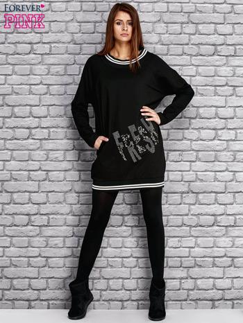 Czarna tunika ze sztrasami                                  zdj.                                  2