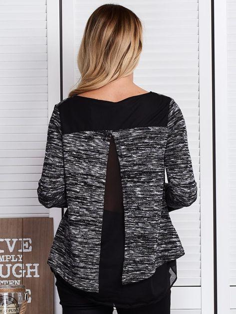 Czarna warstwowa bluzka melange                              zdj.                              2