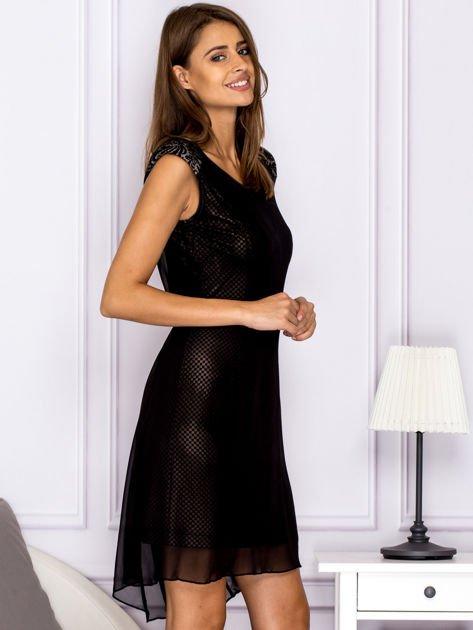 Czarna warstwowa sukienka z wiązaniem                               zdj.                              3