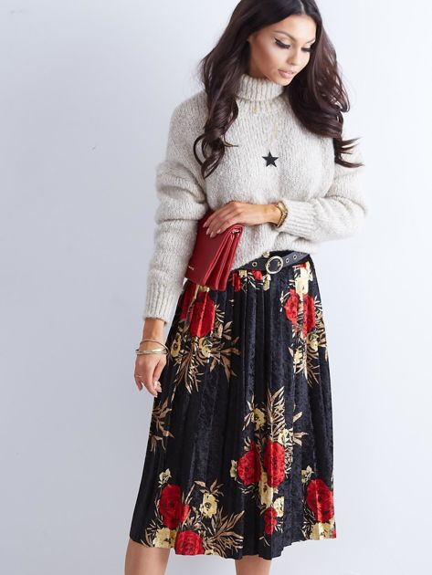 Czarna welurowa plisowana spódnica w kwiaty                              zdj.                              3