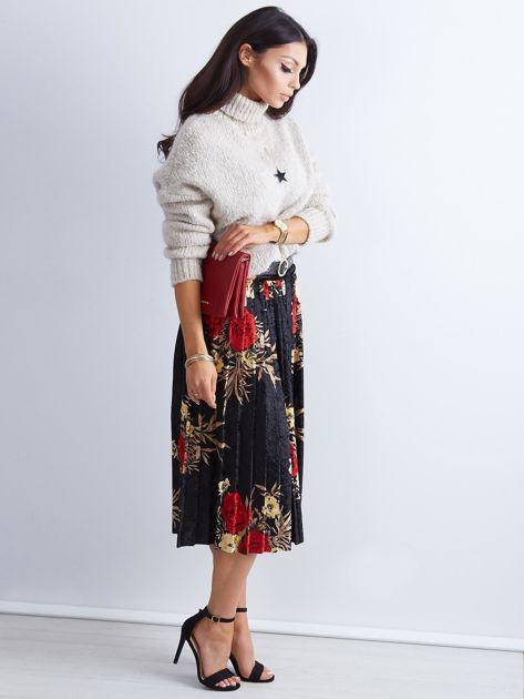 Czarna welurowa plisowana spódnica w kwiaty                              zdj.                              8
