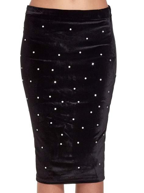 Czarna welurowa spódnica z kryształkami                                  zdj.                                  5