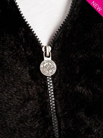 Czarna włochata bluza z kapturem i suwakami                                  zdj.                                  5