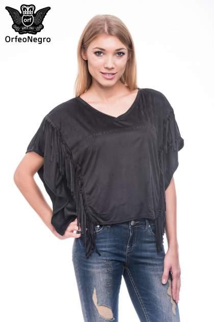 Czarna zamszowa bluzka nietoperz z frędzlami                              zdj.                              5