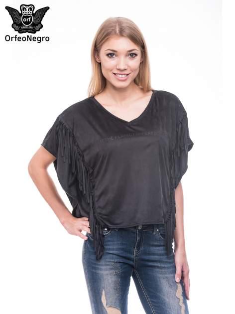 Czarna zamszowa bluzka nietoperz z frędzlami                                  zdj.                                  1