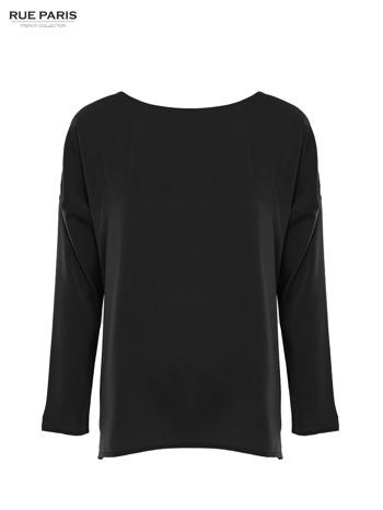 Czarna zwiewna koszula z łódkowym dekoltem