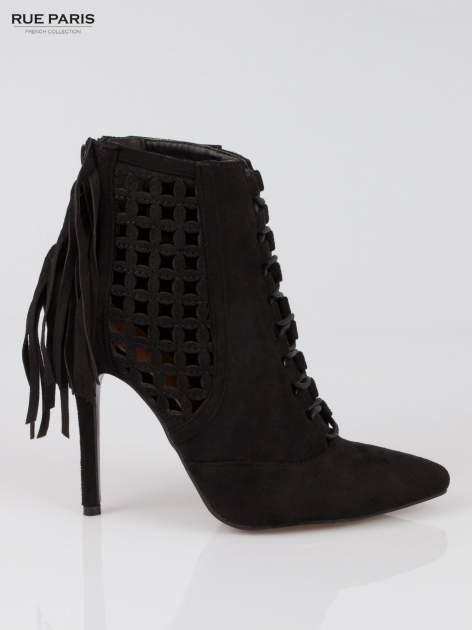 Czarne ażurowe botki faux suede Florence z frędzlami                                  zdj.                                  1