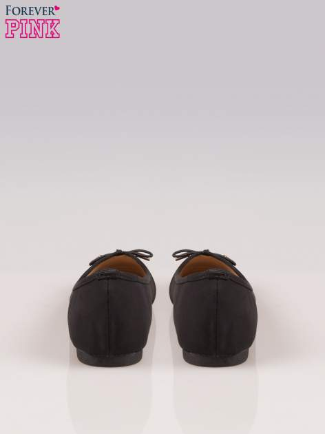 Czarne balerinki faux leather Amber z ozdobną kokardką                                  zdj.                                  3
