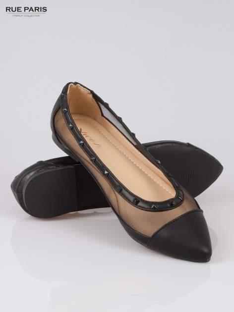 Czarne baleriny Crystal leather z siateczką i ćwiekami                                  zdj.                                  4