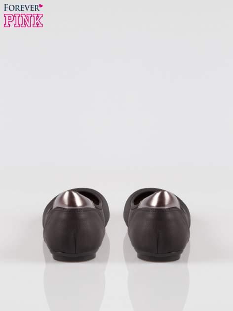 Czarne baleriny cap toe z metalizowanym efektem                                  zdj.                                  3