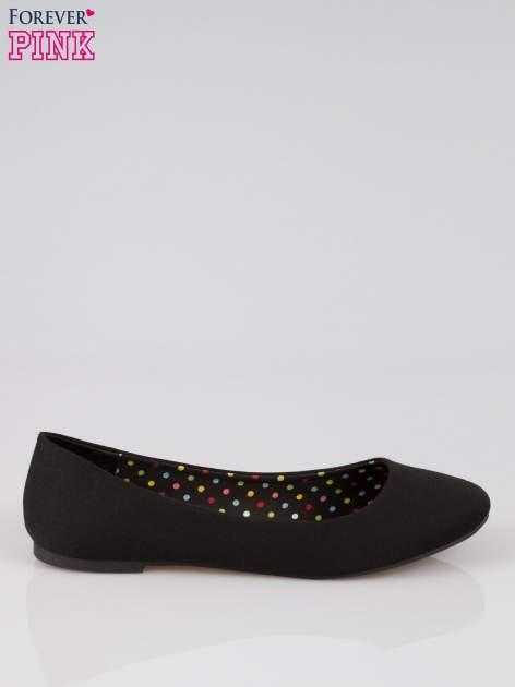 Czarne baletki z tkaniny                                  zdj.                                  1