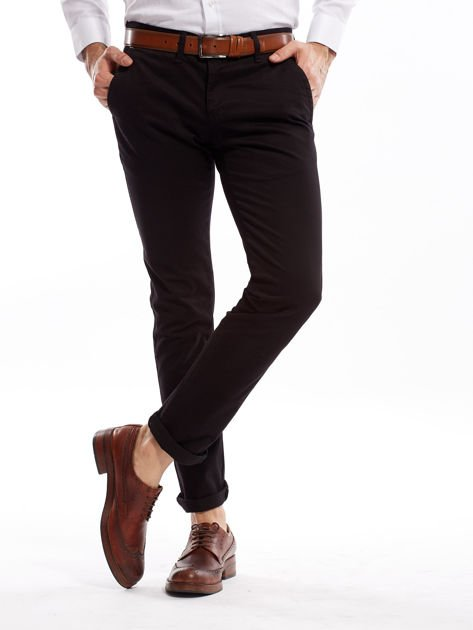 Czarne bawełniane spodnie męskie chinosy                               zdj.                              12