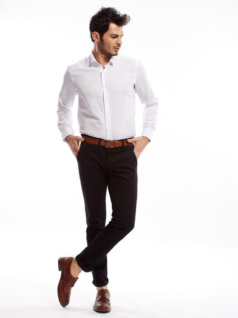 Czarne bawełniane spodnie męskie chinosy                               zdj.                              7