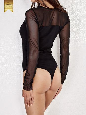 Czarne body damskie z tiulową górą i rękawami                                  zdj.                                  4