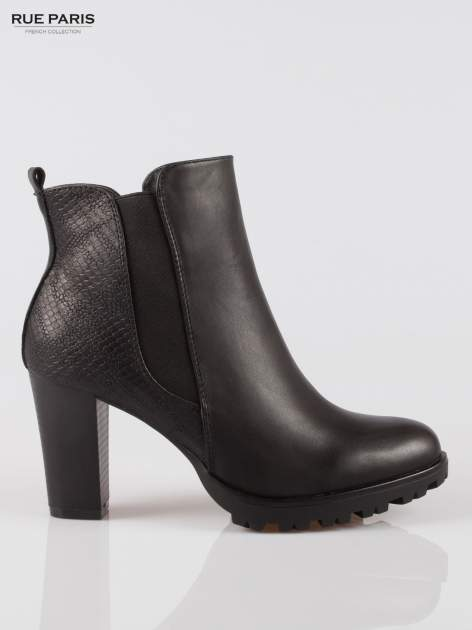 Czarne botki ankle boots na słupku z gumą po bokach cholewki