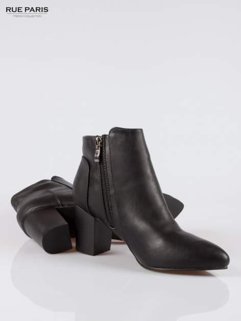 Czarne botki ankle heels na słupku                                  zdj.                                  4