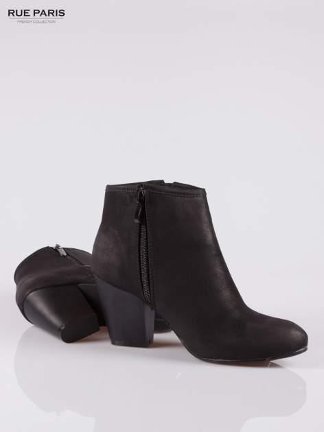 Czarne botki ankle heels na słupku z zamkami po obu stronach                                  zdj.                                  4