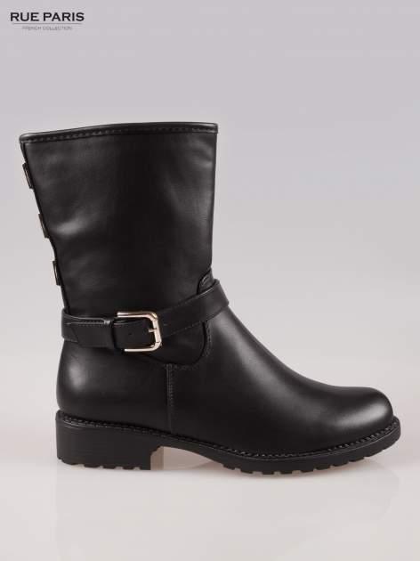 Czarne botki biker boots z klamerką i ćwiekami                                  zdj.                                  1