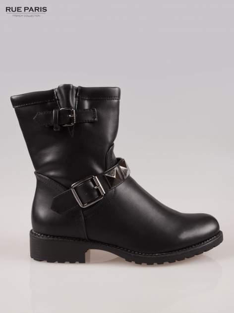 Czarne botki biker boots z klamerkami