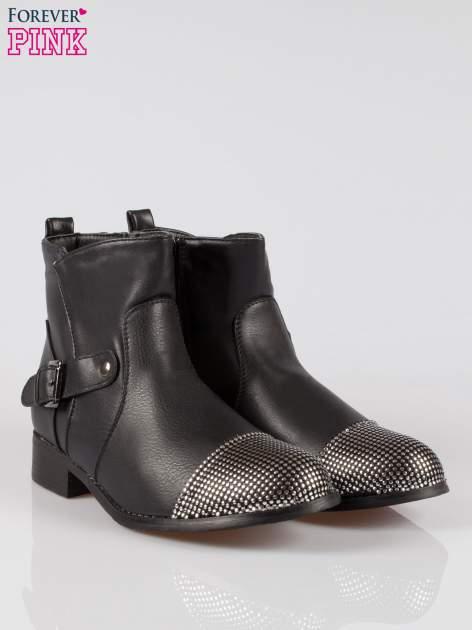 Czarne botki biker boots z noskiem nabitym dżetami                                  zdj.                                  2