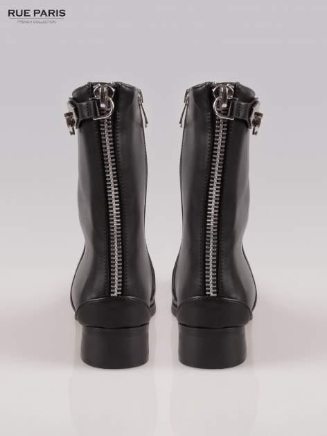 Czarne botki biker boots z zamkiem z tył                                  zdj.                                  3