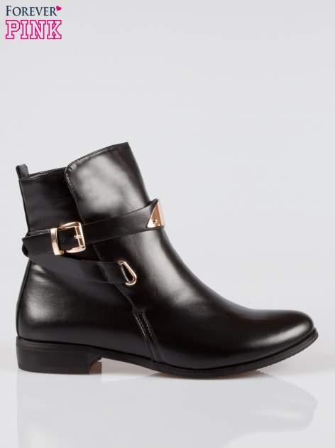 Czarne botki biker boots ze złotą blaszką                                  zdj.                                  1