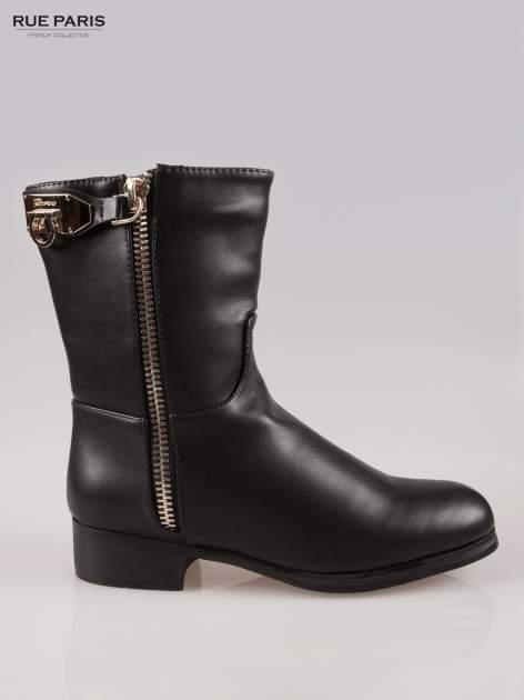 Czarne botki biker boots ze złotą sprzączką i zamkiem