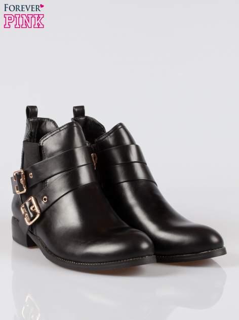 Czarne botki biker boots ze złotymi klamerkami i otokiem z suwaka                                  zdj.                                  2