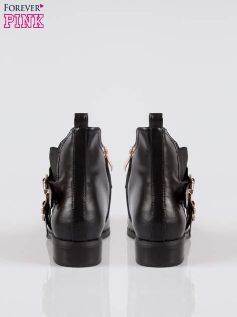 Czarne botki biker boots ze złotymi klamerkami i otokiem z suwaka                                  zdj.                                  3